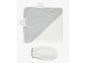 Petit Oh! Badcape & want plumeti v grey