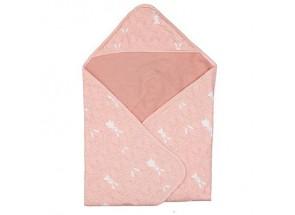 Hoeslaken wieg (2 st), badcape en washandje oud roze