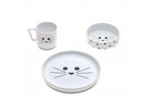 LÄSSIG DInner 3-delig set Porselein Little Chums Cat