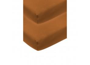 Meyco Jersey Hoeslaken camel 2 st 70x140/150 cm