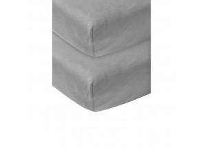 Meyco Jersey Hoeslaken grijs 2 st  60x120 cm
