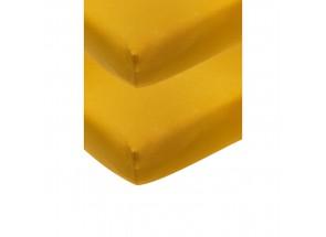 Meyco Jersey Hoeslaken okergeel 2 st  60x120 cm
