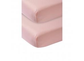 Meyco Jersey Hoeslaken oudroze 2 st  60x120 cm