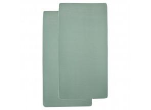 Meyco Jersey Hoeslaken stone green  60x120 cm