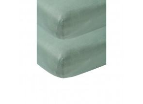 Meyco Jersey Hoeslaken stone green 2 st  60x120 cm