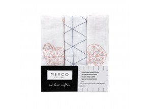 Meyco Hydrofiel Monddoekje geo-hart-driehoek set 3 stuks 30 x 30 cm