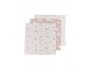 Meyco Hydrofiel Monddoekje veertjes-wolk-roze stip set 3 stuks 30 x 30 cm